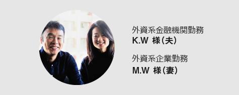 外資系金融機関勤務 K.W 様(夫)外資系企業勤務M.W 様(妻)